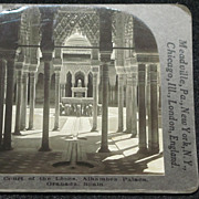 SALE c1920 The Alhambra Court of the Lions (Patio de los Leones) Stereo-view – Granada Spain