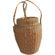 SALE Iroquois Native American Indian Vintage Hand-Woven Knitting Yarn Basket