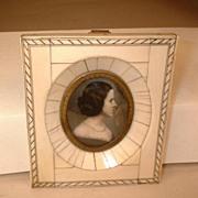 Miniature Water Color Portrait Painting - Authentic Vintage c1830-1865 Woman's Portrait - Greg