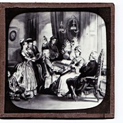 "c1900 English Magic Lantern Slide - Scene From  ""The Vicar of Wakefield"" 18th Centur"