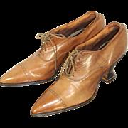 Deadstock Late Teens WWI Era Ladies' Glazed Honey Kid Oxford Shoes