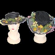 Late Teens 1910s Autumn Meadows Black Silk Hat