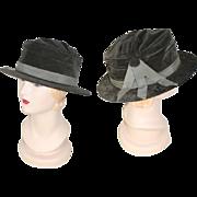 Deadstock Late Teens 1910s Untrimmed Grey Velvet Tailored Hat Savoie
