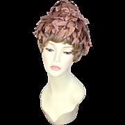 Vintage 1950s Sylvan Tiara Brown Silk Leaves & Flowers Pixie Toque Hat