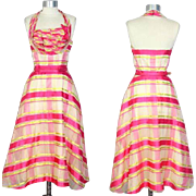"Deadstock 1950s Ribbon Stripe Organza Party Dress ""Vogues & Vanities"" XS"