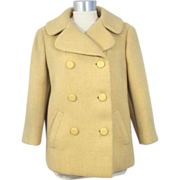 Vintage 1960s Norman Norell Yellow Wool Pea Jacket S/M