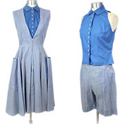Vintage 1950s Jane Derby Blue Gingham Dress, Shorts & Blouse Playset S