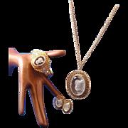 Vintage 1960s Whiting & Davis Victorian Revival Filigree & Glass Intaglio Parure