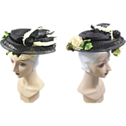 "Edwardian c.1905 Black Horsehair Braid Plateau Hat w/""Bird""Accent"
