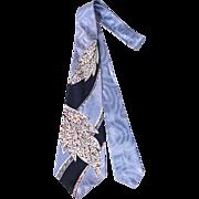 SOLD Vintage 50s Smoothie Ice Blue Satin Leaf Print Wide Tie