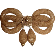 SOLD Victorian Hairwork Bow Motif Brooch w/Pendant Drops Restoration or Display