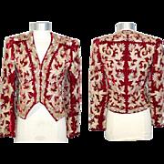 Vintage 1980s Adolfo Embellished Red Velvet Evening Jacket XS