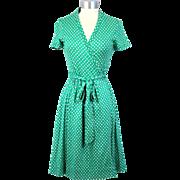 Vintage 70s Diane Von Furstenberg DVF Jade Green Wrap Dress XS/S