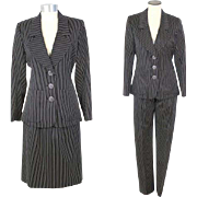 NOS Vintage 1990s Yves St. Laurent YSL 3 Piece Pinstriped Wool Suit XS/S