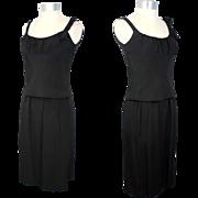 Vintage 60s Mollie Parnis Silk Faille Little Black Dress XS