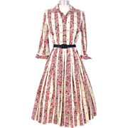 Vintage 1950s Puritan Pink Novelty Print Butterflies & Blossoms Silk Dress M
