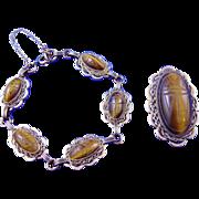 SALE Vintage 40s/50s Atlas Tiger's Eye Scarabs & GF Bracelet/Brooch Demi-Parure