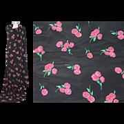 SOLD Deadstock Vintage 1940s Chrysanthemum Print Black Rayon 4.75 Yds