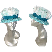 Deadstock 1960s Aqua & White Flowered Cloche in Period Hat Box