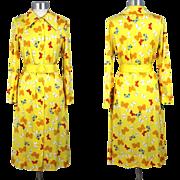 Vintage 70s Hanae Mori Yellow Butterfly Print Shirtdress Neiman Marcus S