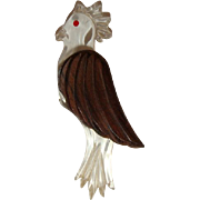 Vintage 40s Carved Wood & Lucite Cockatoo Brooch