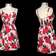 Vintage 1960s Madame Tilly of Saks Poppy Print Corset Sundress XS