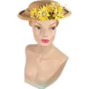 Vintage 1950s Straw Platter Hat w/Yellow Daisies