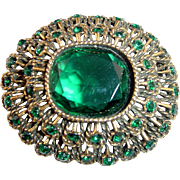 "Vintage ""Vogue"" Emerald Green Rhinestone Brooch or Pendant"