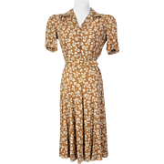Vintage 1940s Novelty Print Caramel Rayon Dress XS