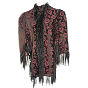 1880s Victorian Plum & Black Brocaded Velvet Mantle Mantelet XXS