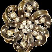 Vintage 1940s Trifari Alfred Philippe Sterling Diamante Pinwheel Brooch