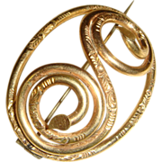 Victorian Rolled Gold Stylized Double Serpent Brooch