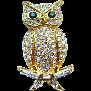 Signed Pell Rhinestone Owl Pin