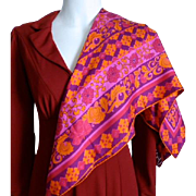 Vera Neumann Hot Pink and Orange Silk Scarf