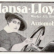 1916: German Company Hansa Lloyd advertisement. Artist signed.