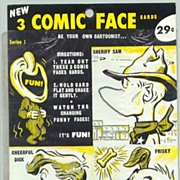 1930-40s: 2 Comic Face Cards: Be your own Cartoonist. 29 cents