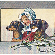 Two Sausage Dogs on vintage Christmas Postcard 1906