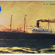 """Ship Postcard """"On Board S. S. Manchuria """" Pacific Mail."""