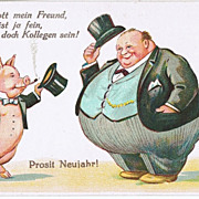 New Years Postcard with Pig