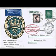 SOLD Zeppelin Postal Card Ostseerundfahrt 1931