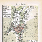 Mumbai, Bombay old Map from 1900