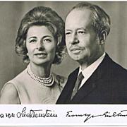 Franz Joseph II, Prince of Liechtenstein and Wife Gina Autographs on Photo.