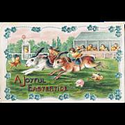 A Joyful Eastertide. Embossed old Postcard-size