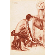 Vintage Postcard with semi-nude Lady