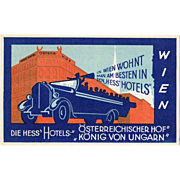 Old Advertising Postcard King of Hungary Hotel