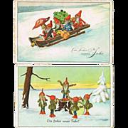 Two Vintage Postcards with Dwarfs 1925