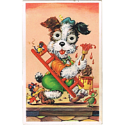 Puppy with movable Eyes. Vintage Postcard