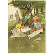 Old German Advertising Postcard for Garment