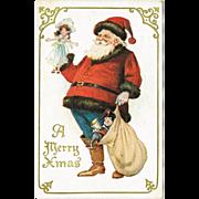 Christmas Postcard with Santa and Doll