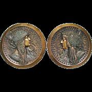 Most attractive old Alphonse Mucha Tete Byzantine Metal Bas Relief c. 1890